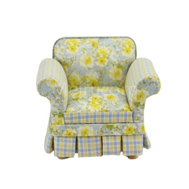 1/12 Scale Dollhouse Miniature Furniture Well Petal Pattern Fabric Armchair