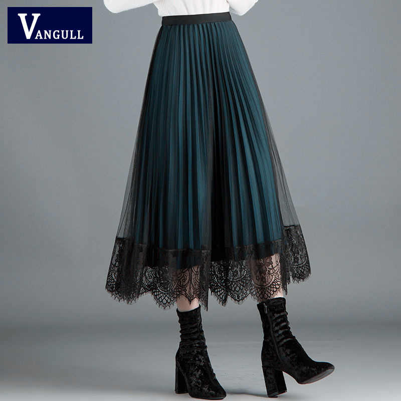 Vangull High Quality Women Lace Skirt 2019 New Autumn Hollow Out Black Spring Pleated Skirt Plus Size Elastic Waist skirts