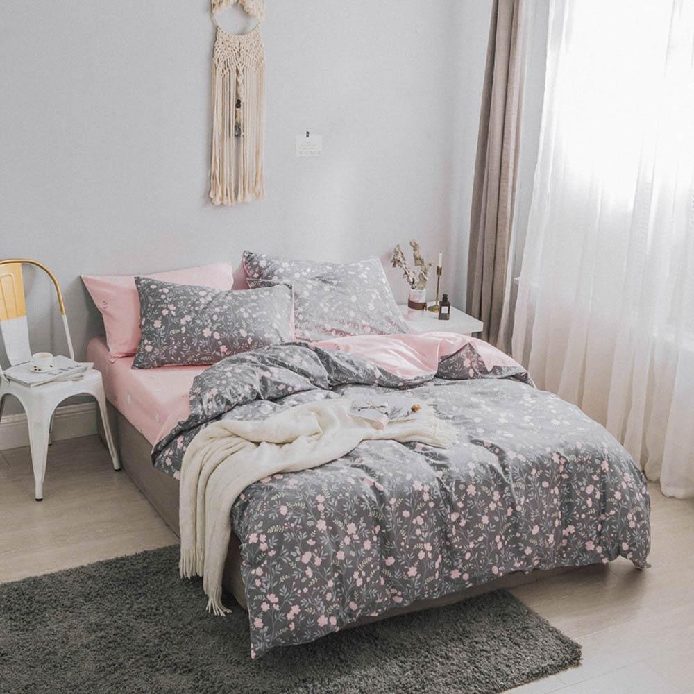 Conjunto de ropa de cama de algodón con estampado de hojas de sábana, edredón, juego de edredón, doble reina, tamaño completo-in Juegos de ropa de cama from Hogar y Mascotas    2