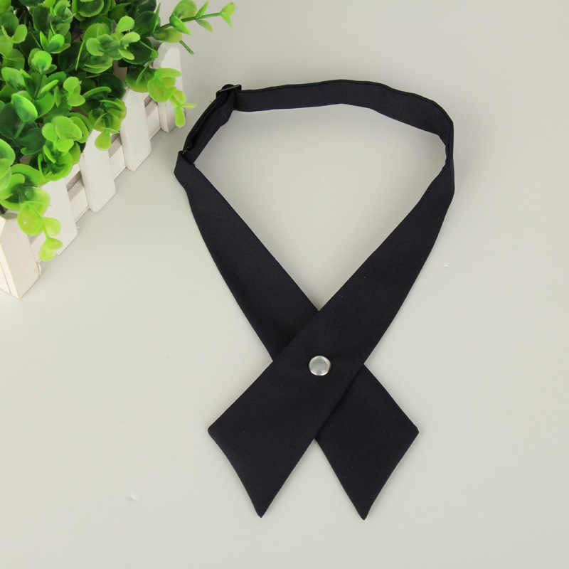 Крестообразные галстуки-бабочки для мужчин и женщин, одноцветные деловые повседневные крестообразные Галстуки, официальные мужские свадебные галстуки-бабочки с металлическим воротником