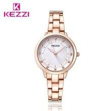 Роскошные Алмаз KEZZI Марка Водостойкой Кварцевые часы Durable100 % Чистой Нержавеющей Стали Япония Движение Часы Horloges Vrouwen