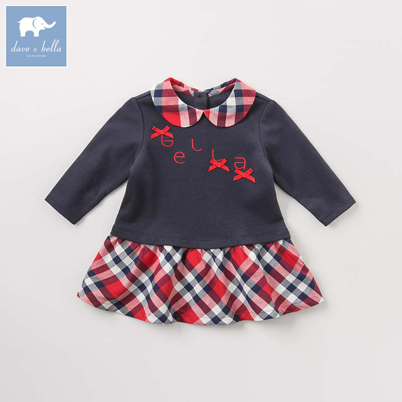DB8426 dave bella autumn infant baby girl's princess dress kids birthday party long sleeve dress children high quality dresses db8431 dave bella baby autumn knitted dress girls long sleeve dress children party birthday costumes