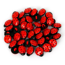 50PCS 15MM Red Dyed Plastic Ladybird Decorative Buttons Sewing Scrapbooking Craft(China)