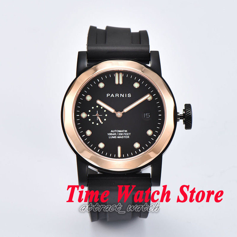 44mm Parnis mens watch 706 gold dial sapphire glass ST Automatic movement цена и фото