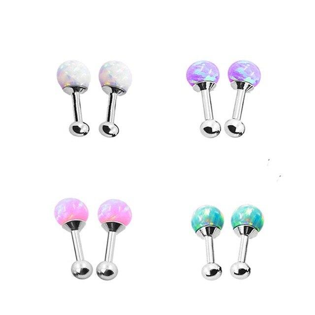 4 pairs Серьги Нержавеющей Стали 316L уха аксессуары опал мяч сияющий искусственный камень сообщению никеля бесплатно ювелирные изделия