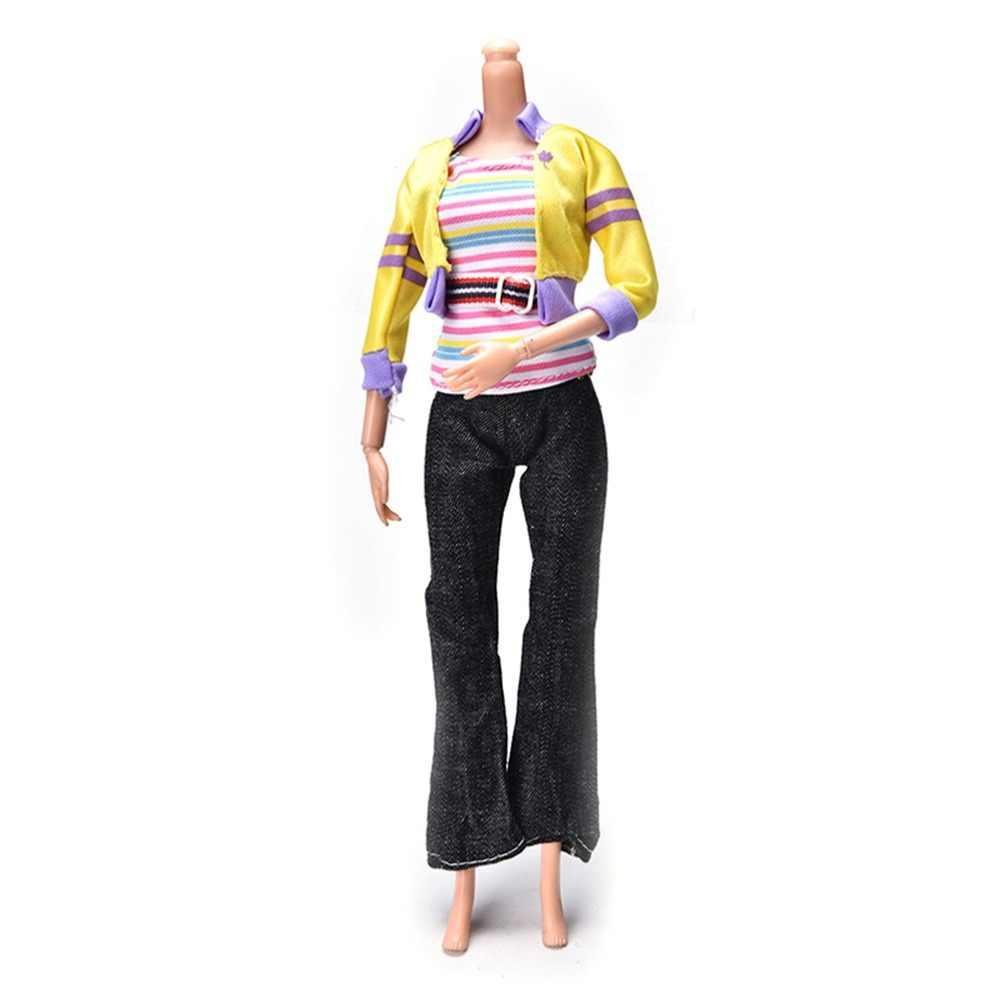 3 ピース/セット秋の服人形ファッション手作り黄色コート黒パンツ虹ベスト人形春服