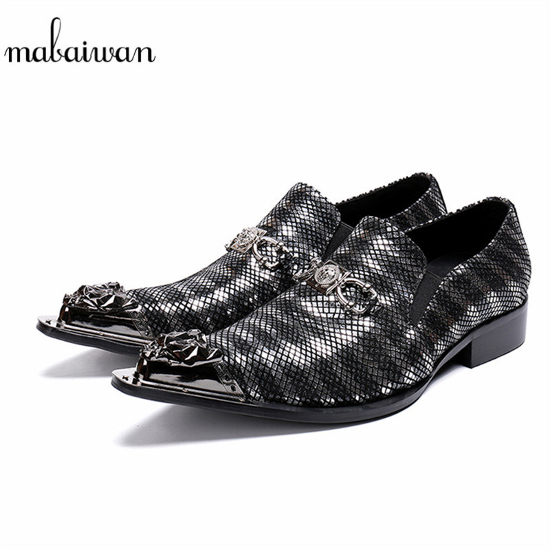 Mabaiwan New Black Luxury Metal Pointed Toe Formal Men Party Wedding Dress Shoes Men Chain Slip On Loafers Office Business Flats цена 2017
