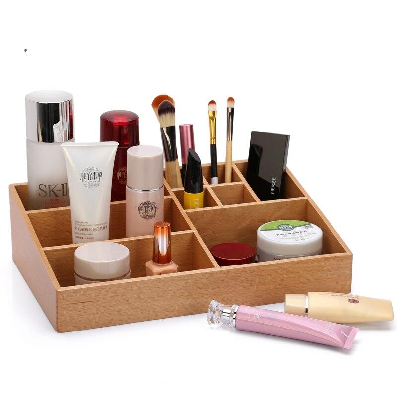 Boîte de rangement en bois multi-grille pastorale Simple boîte de rangement en bambou cosmétique de bureau de mode organisation de stockage à la maison