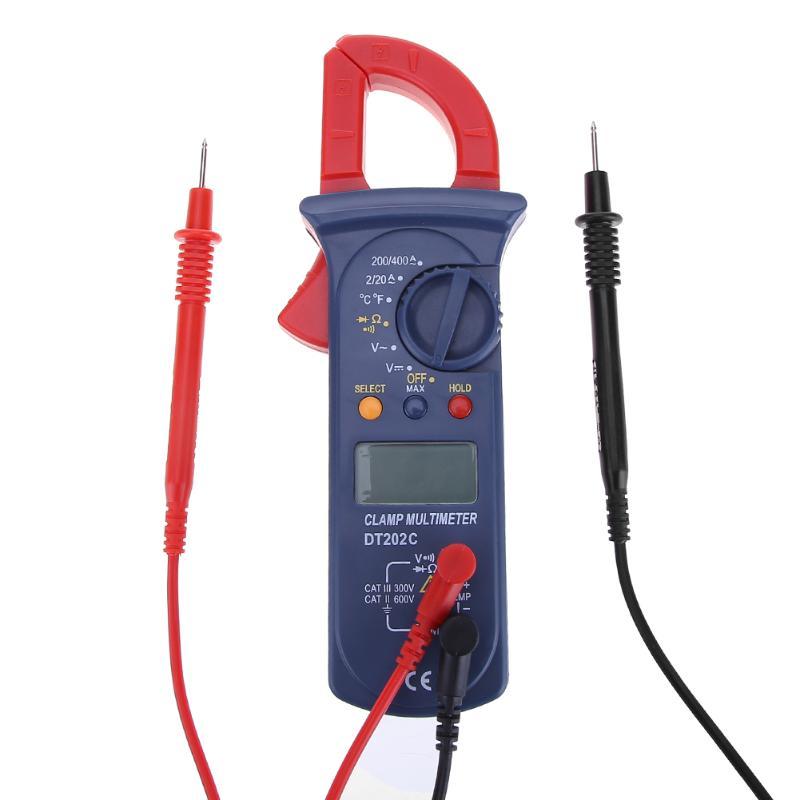 DT202C Digital Clamp Meters Auto Range Clamp Meter Ammeter Voltmeter Ohmmeter w/ LCD Backlight Current Voltage Tester Dropship