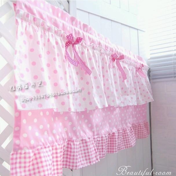 Free Shipping Pink Plaid Flounces Bow Beautiful Coffee Curtain Semi Shade  Small Short Kitchen Curtains