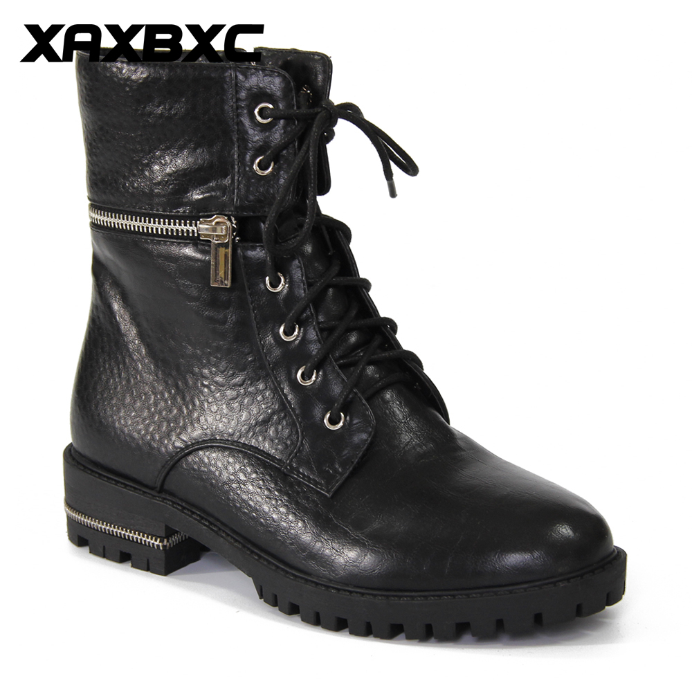 XAXBXC 2017 Retro British Winter PU Leather Metal zippers Brogues Short Ankle Boots Warm Women Boots Handmade Casual Lady Shoes serene handmade winter warm socks boots fashion british style leather retro tooling ankle men shoes size38 44 snow male footwear