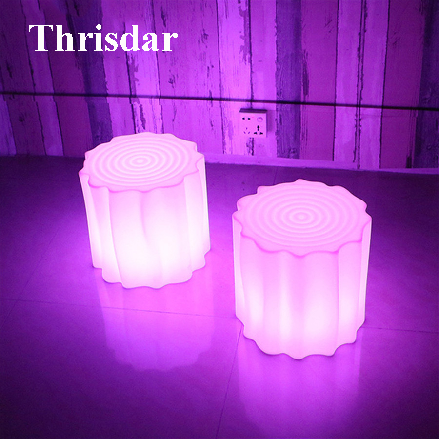 Thrisdar IP68 RGB Rechargeable Wood Led illuminated Furniture Light Outdoor Waterproof Led Cube Chair Bar KTV Plastic Table Lamp