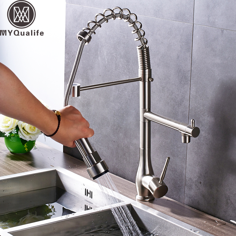 Brushed Nickel Pull Down Kitchen Faucet Deck Mounted Swivel Spring Kitchen Sink Hot and Cold Taps
