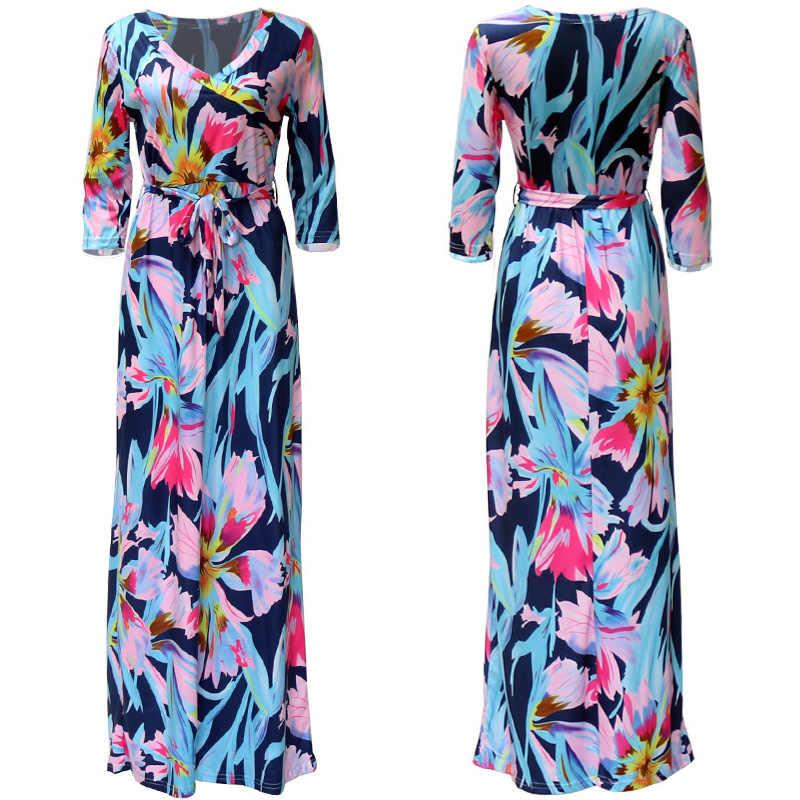 Женское платье в богемном стиле, с цветами, с принтом длинное платье 2019 сексуальное платье с v-образным воротом, Пляжное летнее платье повязки Винтаж Maxi dress Vestidos Longo