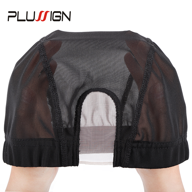 Plussign U Part Shape Wig Cap Weaving Net Mesh Diy Black Stretchy Mesh Dome Weaving Caps For Making Wigs Hair Breathable Ipcs