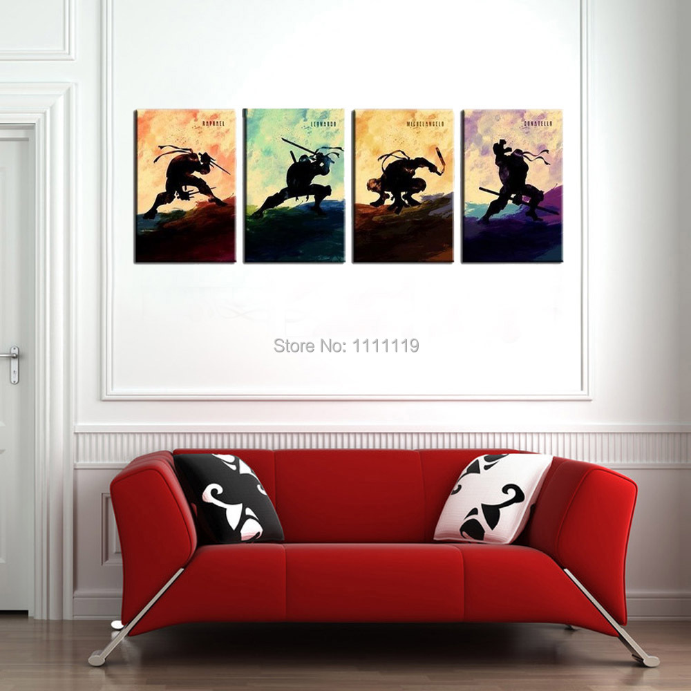 Canvas Picture Handmade Abstract Cartoon Wall Painting Pictures On 4P Oil Paintings Teenage Mutant Ninja Turtles