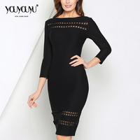 Kaige Nina New Dress Simple Pure Color Office Lady Style Wrist Sleeve Hollow Out Decoration Knee