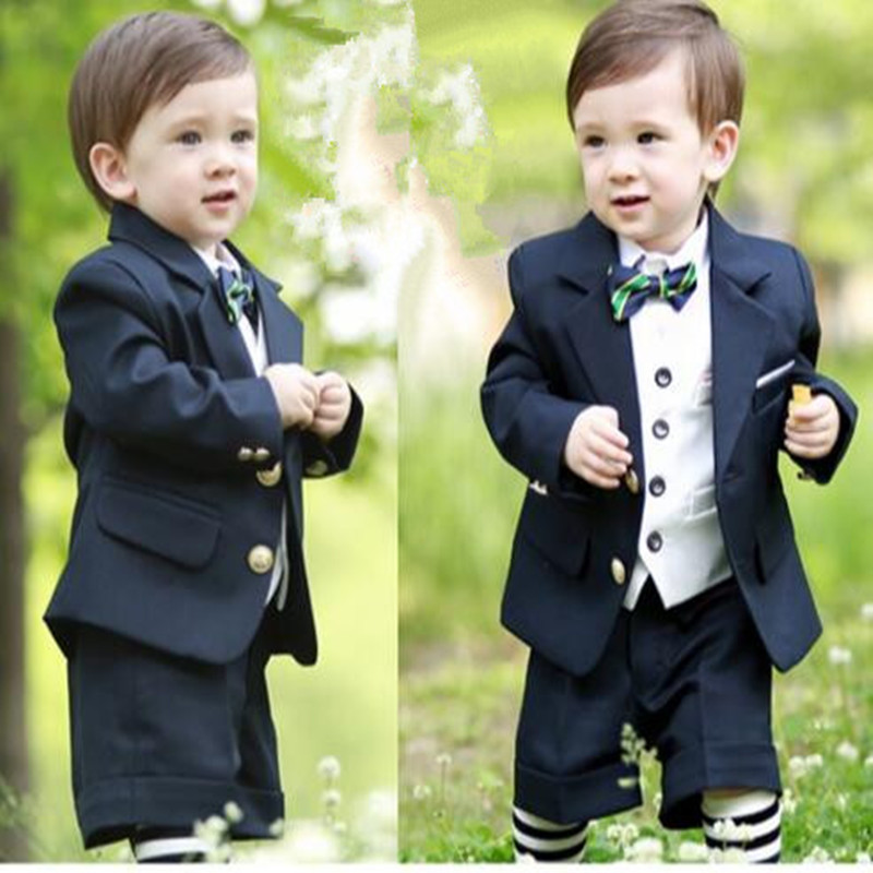 New Boy Suits For Wedding Boys Prom Suits Children Clothing Set 5pcs/suits Blazer+Vest+Black Pants+Tie +Socks Boy Formal Costume blue boys blazer suit children vest tie blouse pants 4 pieces blazer sets for wedding autumn outwear toddler boy blazers da705