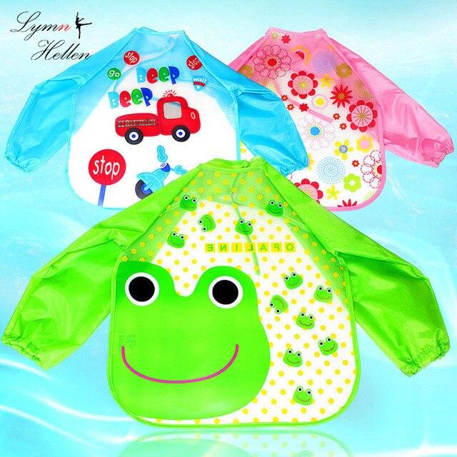 תינוק אורז סינר מזון כיס ארוך שרוול אנטי-בגדים עמיד למים ליקוק בד ארוחת צעצועי בגדי רטוב כיסוי קריקטורה בעלי החיים ילד