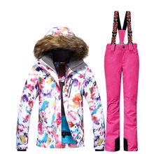 Mujeres traje de esquí establece ropa de snowboard impermeable a prueba de  viento de nieve del invierno al aire libre trajes cha. 34b1b34f19c