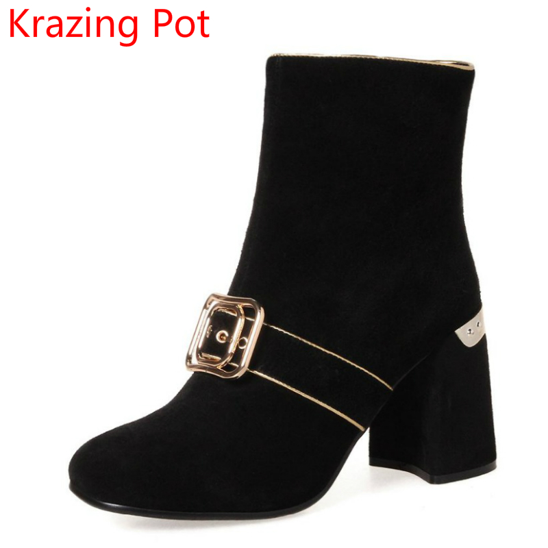 2018 New Arrival Superstar Runway Metal Thick Heel Fashion Boots Handmade Winter Shoes Slip on Zipper Women Mid-calf Boots L71 new fashion superstar brand winter shoes embroidery snow boots tassel women mid calf boots thick heel causal motorcycles boots