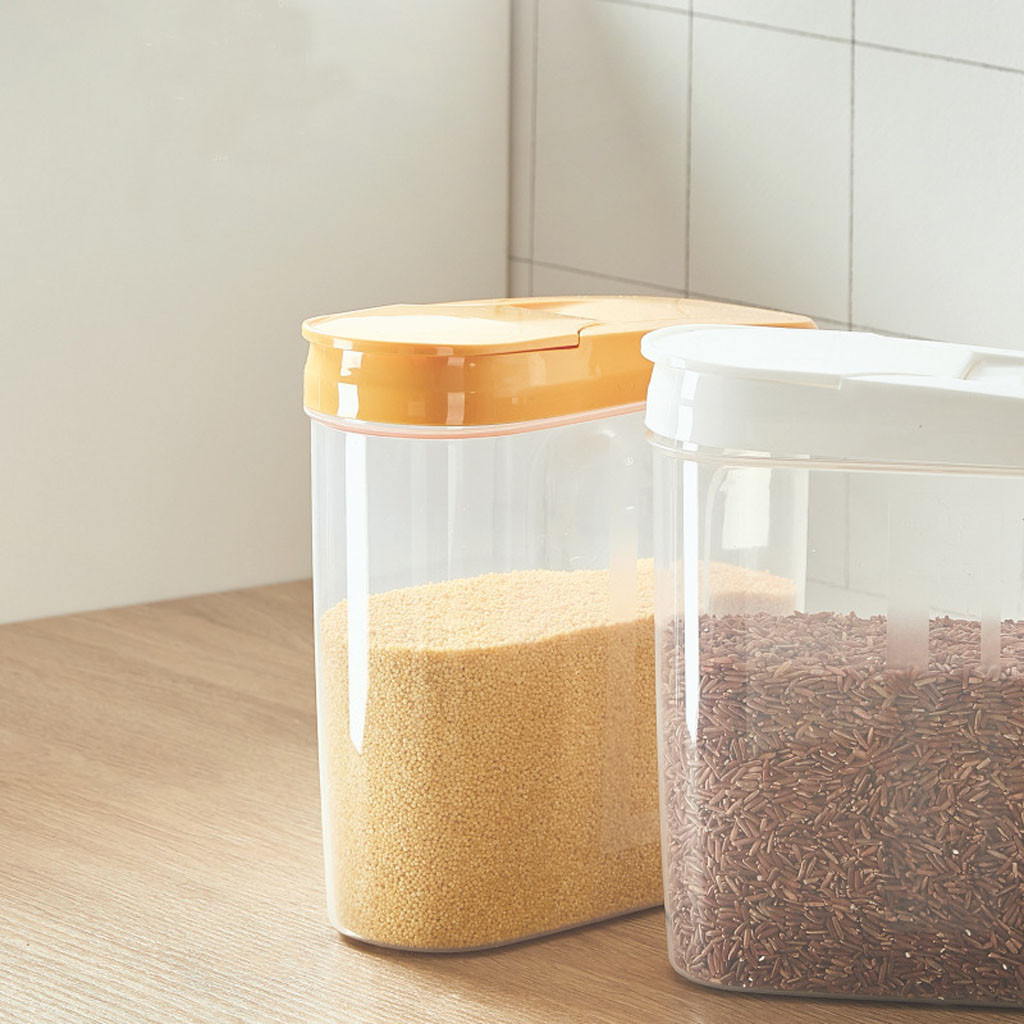 Image 2 - Plastic Dispenser Storage Boxes Preservation Kitchen Food Grain Rice Pot Container Kitchen Rice Storage Box Flour Grain Storage-in Storage Bottles & Jars from Home & Garden