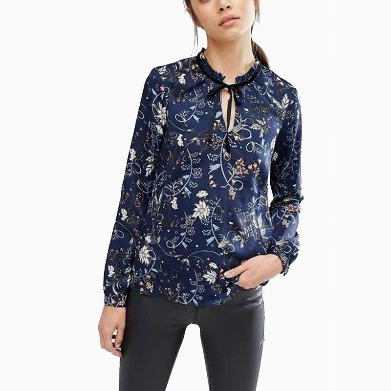 Moda  Del Otoño Del Resorte Mujeres de La Vendimia Floral Impreso Blusa Con Vola