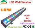 18 W RGB mutável LED Wall Washer DC24V ao ar livre focos 3 canais DMX holofotes IP65 à prova d ' água edifícios luz do projetor