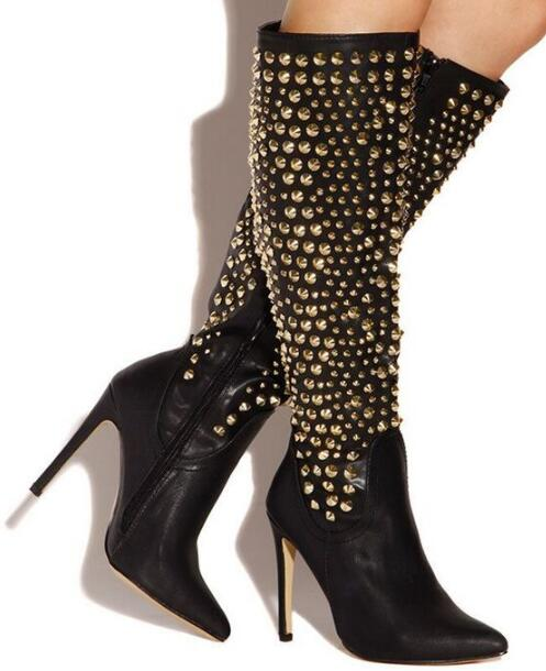 Winter new arrivals studs knee boots pointed toe rivets leather women long boots black/beige women autumn winter boots shoes