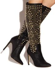 Winter new arrivals studs knee boots pointed toe rivets leather women long boots black beige women