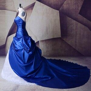 Image 4 - Vintage Royal Blu E Bianco Abiti Da Sposa Abiti 2020 Sweetheart Lace Up Abiti Da Noiva Più Il Formato Lungo Sexy Da Sposa abiti