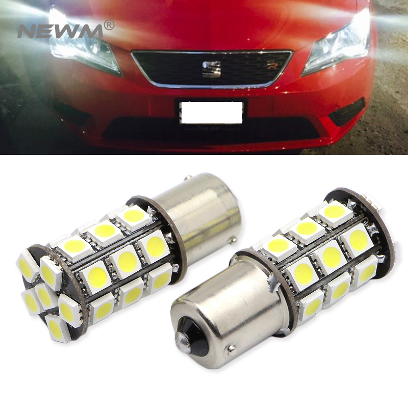 S25 1156 BA15S P21W 27SMD 5050 Led Reverse Light Backup Lamp For SEAT LEON 3 MK3 6000K White 2pcs 2pcs high quality superb error free 5050 smd 360 degrees led backup reverse light bulbs t20 for hyundai i30