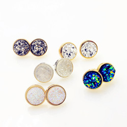New fashion accessories round rock crystal design stud earring mix color size gift for women girl.jpg 250x250