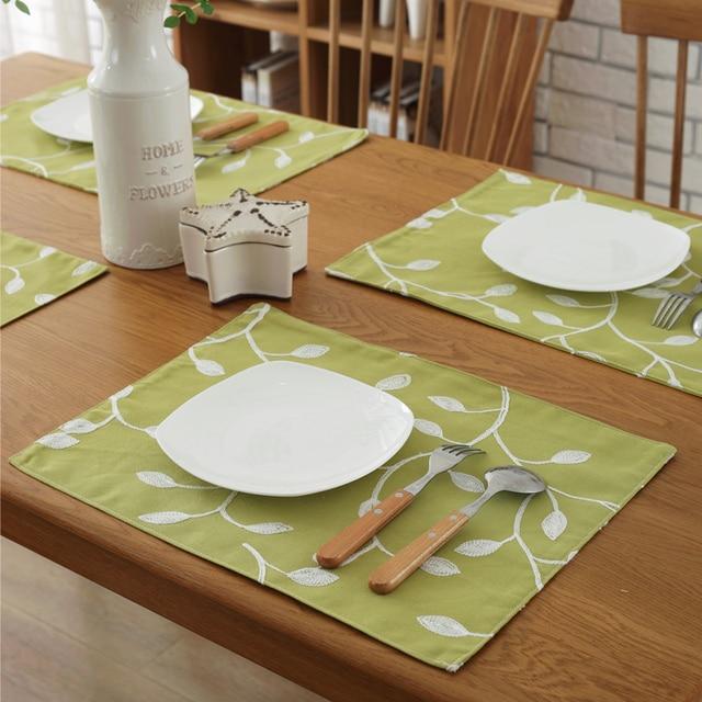 2pcs Eco Friendly Cotton Linen Placemat Square Dining Table Mats Rugs Coasters 32 45cm