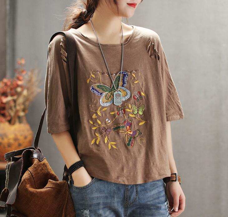 2019 Plus size womens t shirt tops spring summer butterfly Embroidery loose casual t shirts 4