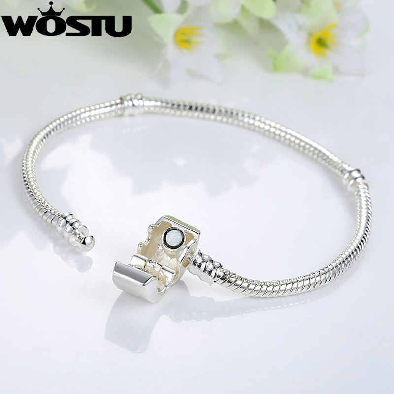 WOSTU nowy projekt srebrny łańcuszek żmijka łańcuch zapięcie magnetyczne europejski urok koralik Fit WST bransoletka Bangle biżuteria dla kobiet mężczyzn SDP9010