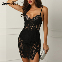 f772a34925 Lace Mesh Women Dress Slim Black Crochet Sleeveless Mini Dresses Sexy Club  Wear Perspective Bodycon Dress