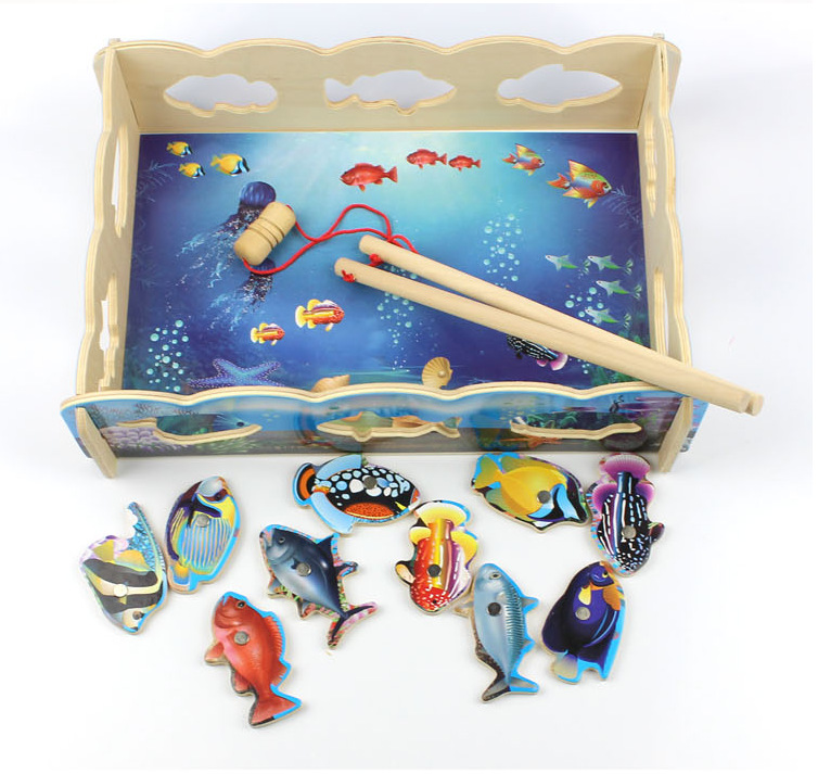 Free Shipping Children 39 s Wooden Fun Fishing Magnetic wooden puzzles Toy kids wood Assembly Puzzle toys pretend play Fishing toy in Fishing Toys from Toys amp Hobbies