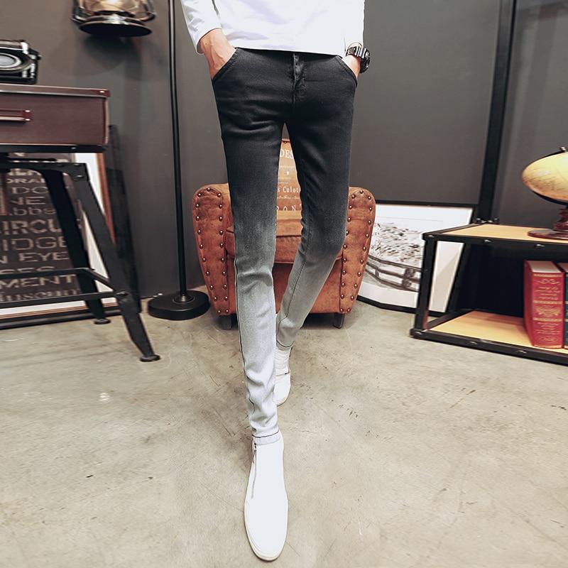 Korean Summer Skinny Jeans Men Gradient Color Thin Men Jeans Streetwear Fashion Slim Fit Denim Pants Men Clothes 2019