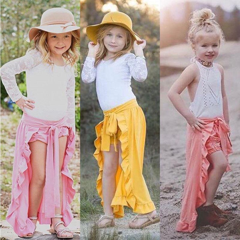 Mutter & Kinder Sommer 2018 Schöne Kinder Baby Mädchen Shorts Hosen Rüschen Saum Rock Strand Outfits 1-6 T Angemessener Preis