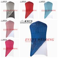 Back Sequin Lycra Spandex Chair Cover Cap Hood Chair Jacket For Wedding Event Decoration