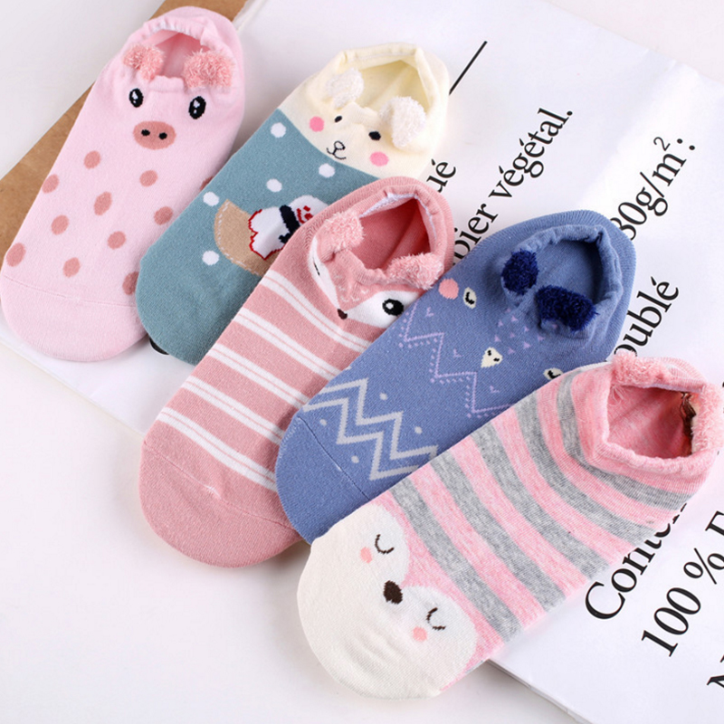 LNRRABC Cute Lovely Women   Socks   3D Cartoon Animal Zoo Cotton Soft Creative Kawaii Girls   Socks   Women Accessories
