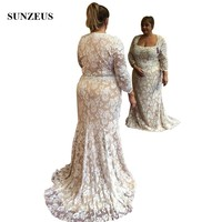 Vintage Lace Long Sleeve Mother Of The Bride Dress Mermaid Square Neckline Plus Size Women Wedding Party Gowns Elegant Robe