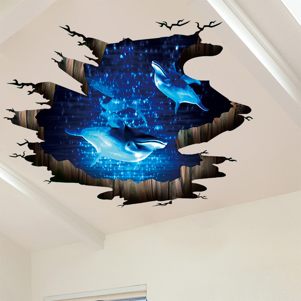 Sticker 3d Parete.Us 5 15 24 Off 3d Roof Floor Sticker Space Ocean Dolphin Decals Mural Vinyl Art Living Room Decors Wall Stickers For Kids Rooms Adesivo Parete In