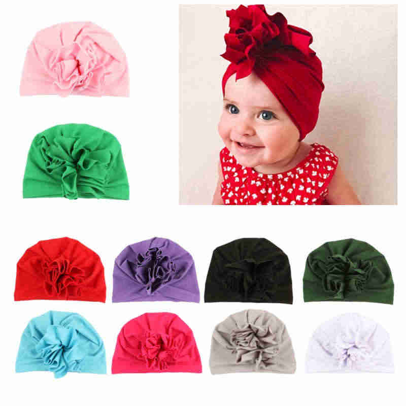 b8eace80c Flower Girls Baby Hat Newborn Elastic Baby Turban Hats Cotton Infant Beanie  Cap