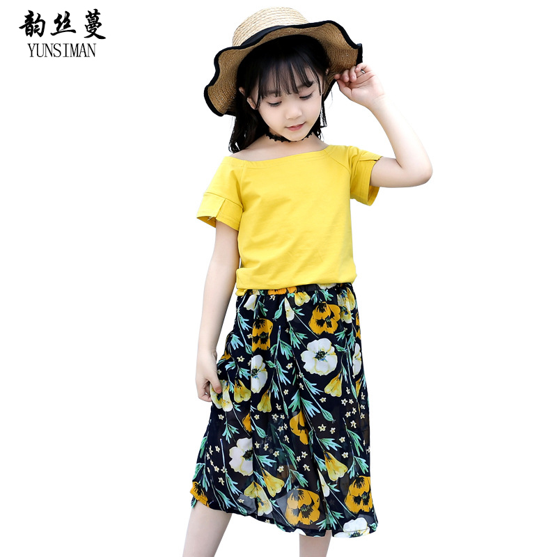 Baby Girls Clothes Skirt Suit Summer 2018 Kids Teens Cotton T Shirt Flowers Print Skirt Sets for Teenager 7 8 9 10 11 12 Y 5C55