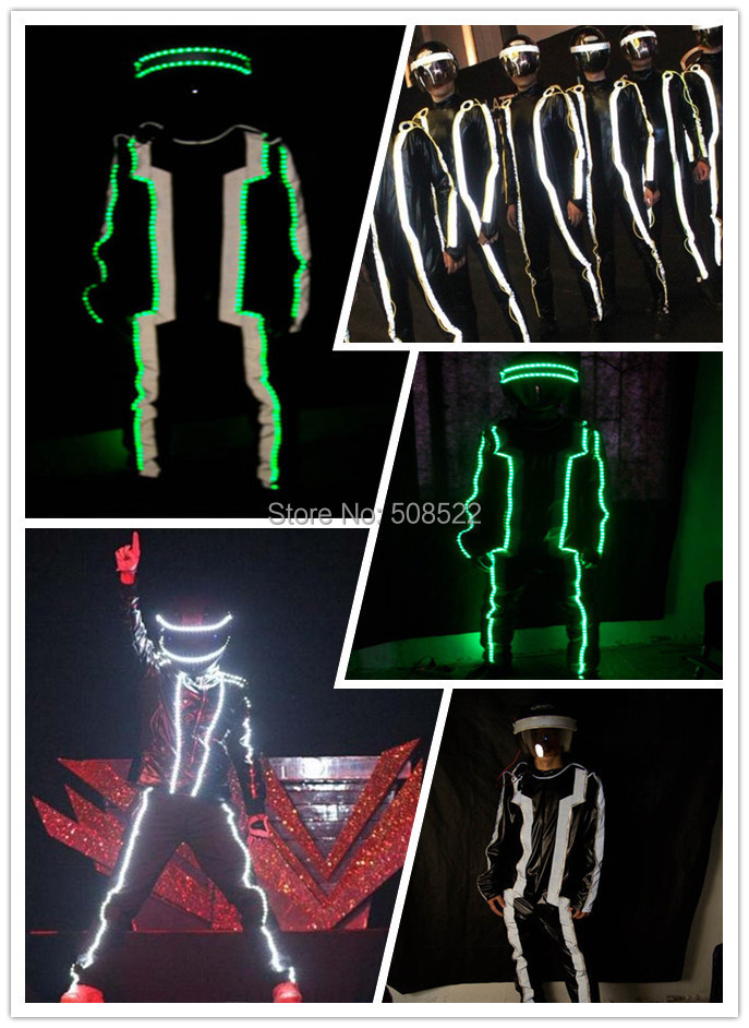 Illuminated costume EL wire Black ops bar ShangYan security guide guests concierge fashion show Size/ color customized