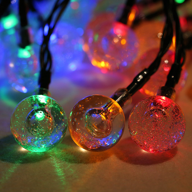 6m 30 led crystal bubble ball light solar powered christmas tree decor waterproof wedding new year