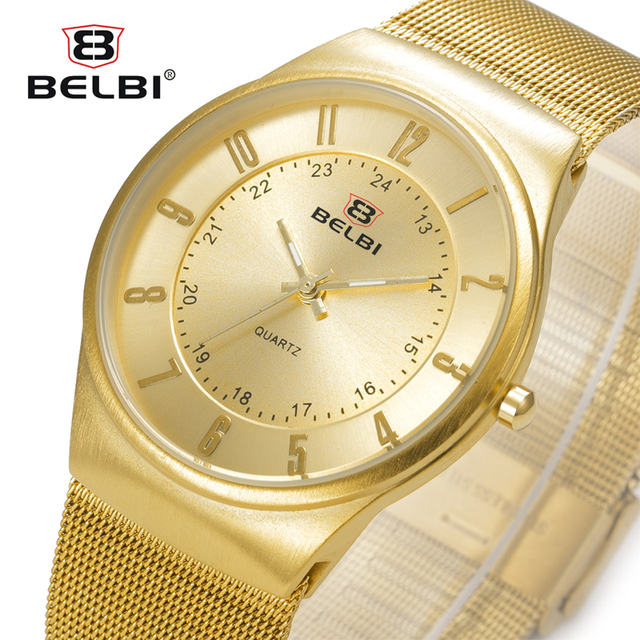 2016 Belbi Fashion Quartz Watch Men Steel Mesh Wrist Watches Mens Quartz-Watch Arabic Number Dial Casual Wristwatch Clock Hours