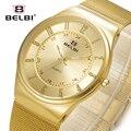 2016 Belbi Moda Hombres Reloj de Cuarzo Reloj Para Hombre Relojes de Cuarzo-Reloj De Malla De Acero Número Árabe Dial Reloj Casual Reloj horas